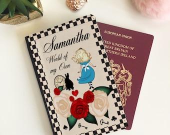 Personalised Alice in Wonderland Passport Cover - Passport Wallet - Travel Case