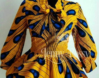 Elegant  African print Bow Top Ankara Asymmetric Double  peplum Top African  Clothing Gold/ yellow Ankara women clothing