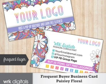 Frequent Buyer Business Card, Frequent Buyer Card, Fashion Consultant, Paisley Floral Design Custom Business Card, Direct Sales, PRINTABLE