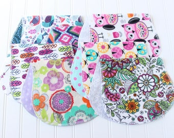 Baby Girl Burp Cloths - Set of 7 - Baby Shower Gift - Baby Gift - Aztec - Feathers