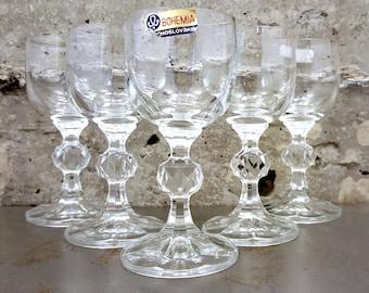 5 Vintage Bohemia Czechoslovakian Fine Lead Crystal/Liquor/Aperitif/Cordial/Sherry/Shot Ball Stem Glasses/Vintage Barware/Stemware/Glassware