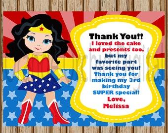 "PERSONALIZED- Wonder Woman Thank You Card- Superhero Thank You Card- Wonder Woman Birthday Thank You Card- 5"" x 7"" size- Digital Item"