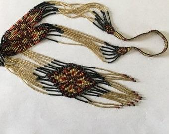 Red Black Yellow Ukrainian Gerdan Long Seed Bead Necklace, Handmade Beaded Necklace, Folk Necklace, Statement Necklace, Long Necklace,