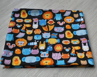 cotton japanese animal zoo  fabric 1/2 yard