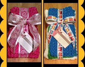 Burp Cloth Set/Changing Pad and Washcloth Set/Crocheted Changing Pad and Washcloth Set