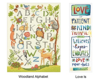 Dimensions Cross Stitch Kit - Woodland Alphabet (70-35343) or Love Is (70-35345)