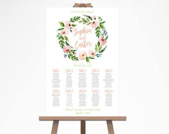 Spring Wedding Seating Chart, Peach Wedding Seating Sign, Floral Wedding Seating Plan, Rustic Wedding Seating Chart Template WTCW