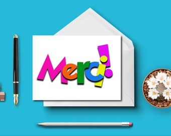 Merci - Thank You In French - Blank Note Cards - Blank Fold Over Greeting Cards - Ready To Ship - Stationery Set of 3 Blank Note Cards