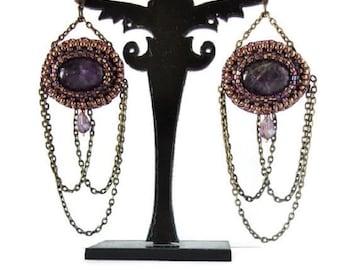 Amethyst earrings, Purple and bronze Earrings