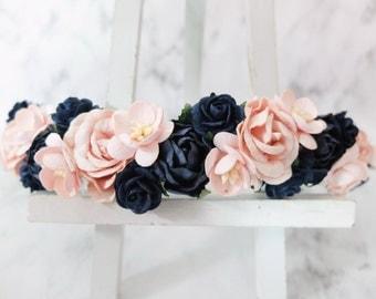 Navy blue and blush pink flower crown - wedding floral hair wreath - flower headpiece for girls - flower hair accessories