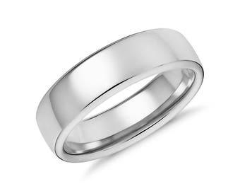 Men's Modern Comfort Fit Wedding Ring - Mens 6.5mm Wide Wedding Band - 14K 18K White Yellow Rose Gold or Platinum