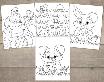 Easter Coloring Pages, Coloring Pages Easter, Egg Hunt Coloring Pages, Printable Coloring Pages, Bunny Coloring - 4designs, Digital File