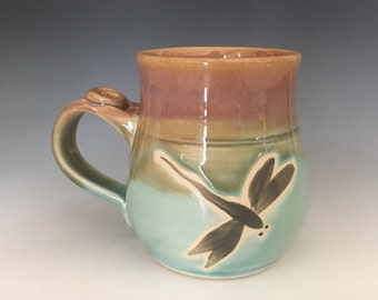 Pottery, Dragonfly Mug, Coffee Cup, Stoneware Tea Mug, Handmade mug.