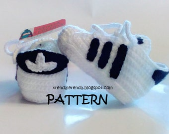 Adidas Superstar PATTERN crochet baby in 3 different sizes. In Spanish and English. Step by step tutorial baby shoes.