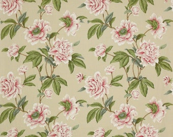 COLEFAX & FOWLER SHABBY Giselle Peonies Linen Fabric 10 Yards Pink Green