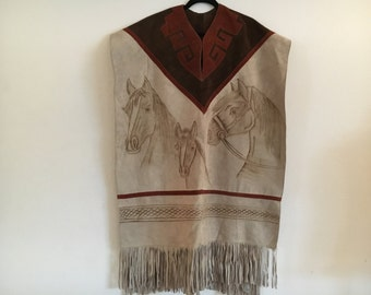 Vintage Mexican Suede Poncho Boho Horses and Fringe