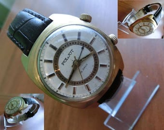 Gold Plated Au 5 Soviet watch, Vintage watch, Russian watch, Poljot Mechanical watch with mechanical Alarm Rare! Orologi