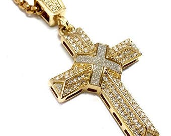 """18k Gold Plated Stainless Steel Cross Pendant Necklace with 24"""" Rope Chain"""