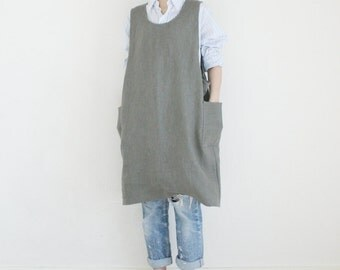 Linen Long Tunic Dress,Soft khaki