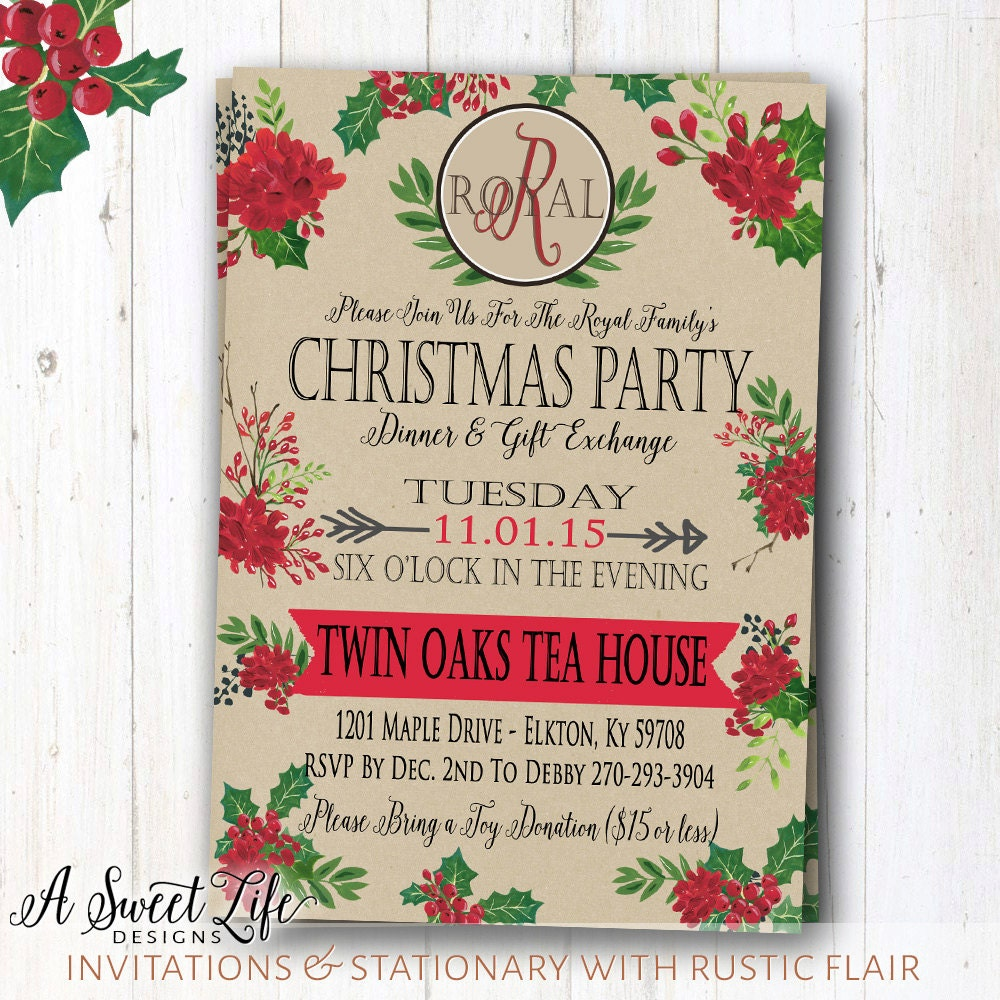 Christmas Holiday Open House Invitation Dinner Party Shop – Christmas Dinner Party Invitations