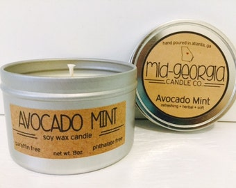 Avocado Mint Soy Candle Tin 8oz.