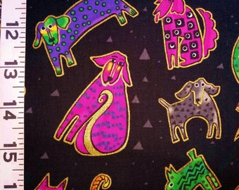 Laurel Burch Dogs & Doggies Black Quilting Fabric - Fat Quarter or Yardage