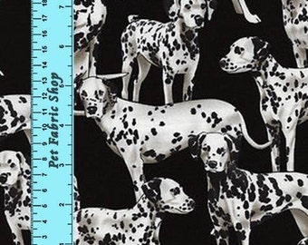 Dalmatians on Black Quilting Fabric - Fat Quarter or Yardage