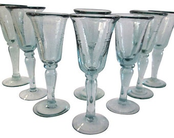 Mexican Blown Glass Goblets, S/8