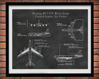 Boeing RC135V Rivet Joint United States Air Force Reconnaissance Aircraft Drawing - Art Print - Poster - CIA Spy Plane Illustration