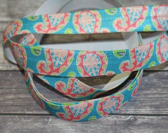 "5/8"" Aqua Teal Turquoise Paisley Floral Pattern DIY Headband Supplies Fold Over Elastic FOE per Yard"