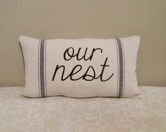 Our Nest Pillow | Farmhouse Grain Sack Pillows | Grain Sack Pillows | Farmhouse Decor | Natural Decor | Country Home Decor | Rustic Living