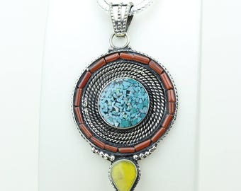 Target Practice! Coral Turquoise in Swirl Pattern Formation Native Tribal Ethnic Vintage Tibet Jewelry OXIDIZED Silver Pendant + Chain P3942