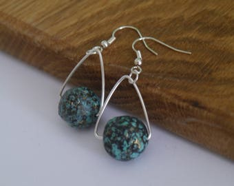 Handmade Silver Plated Triangular Earrings