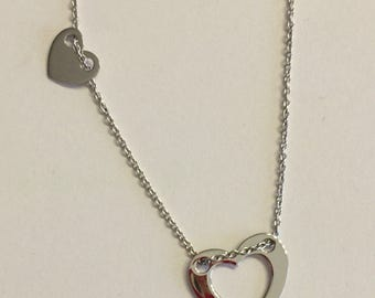 Silver Two Heart Necklace.