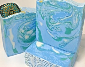 Ocean Water Soap- Artisan Soap- Hand Crafted Soap- Hand Made Soap- Bar Soap- Mandala- Painted Stones- Keepsake Soap