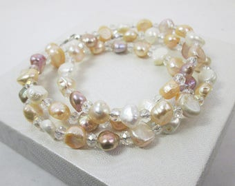 Pastel Pearl Necklace Pearl Wrap Bracelet Convertible Jewelry Bridal Pearl Crystal Jewelry Single Strand Necklace to Multi Strand Bracelet