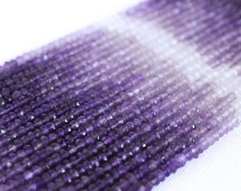 "Ombre Amethyst Beads - Full Strand 13.5"" - 2mm x 3mm Faceted Rondelle Beads - Purple Beads - Gemstone Beads - February Birthstone / GB-031"