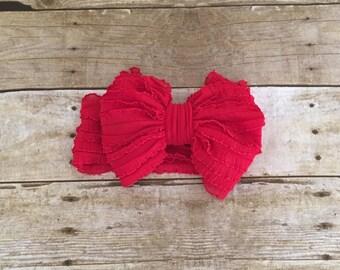 Ruffle Headband- Bright Red Ruffle Headband- Bright red Headband- Bright Red Ruffles- Headband- Large Bow Headband- Bow- Headband