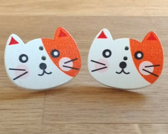 Cat earrings, wooden button studs, cat mom, orange and white kitty, crazy cat lady jewellery, gift for cat obsessed friend, pussy jewelry