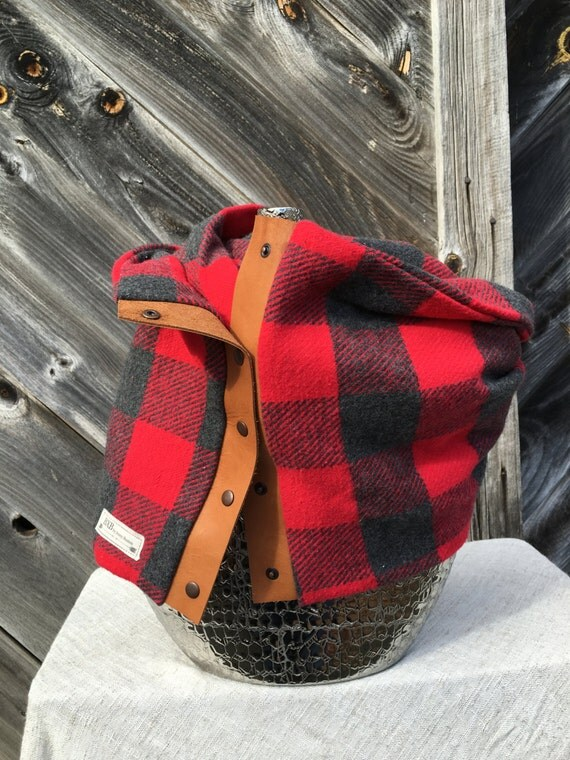 Red and Gray Check Plaid Cowl Snap Scarf with leather detail