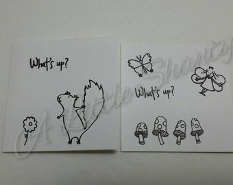 """What's Up? Card series(3""""x3"""")/white paper base/stamped message/blank inside/Whimsical/All occasion card"""