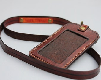 Leather ID Holder with Lanyard