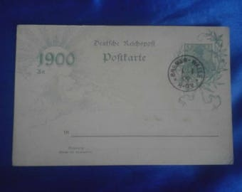 Vintage German 1900 Postcard 1/1/1900 Franking Stamp Unused