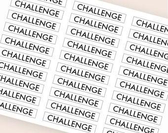 30 black challenge stickers, header sticker, transparent stickers clear, planner stickers, fitness sticker eclp filofax happy planner kikkik