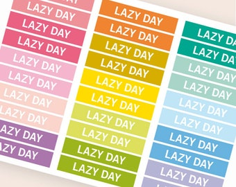 Lazy day Heading stickers, planner header stickers, planner stickers, agenda notebook journal stickers, reminder