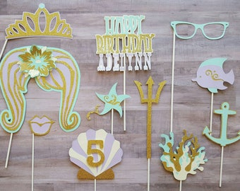 Beach Mermaid Theme Personalized Photo Booth Props