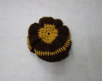 75% OFF SALE!!! Handknit Hat // Brown Knit Beret Hat