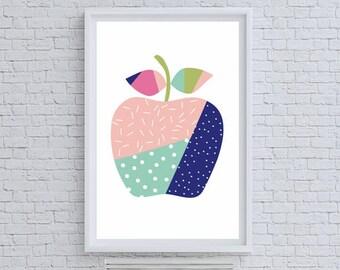 Patchwork Apple Art Print