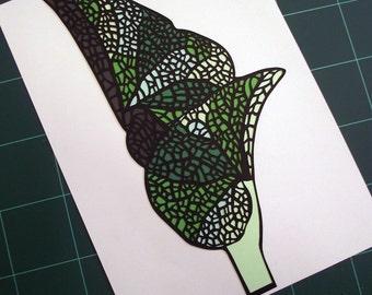 A4 Hand Cut Plant Life #2 Botanical Paper Cut