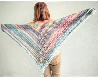 Multicolor crochet shawl.